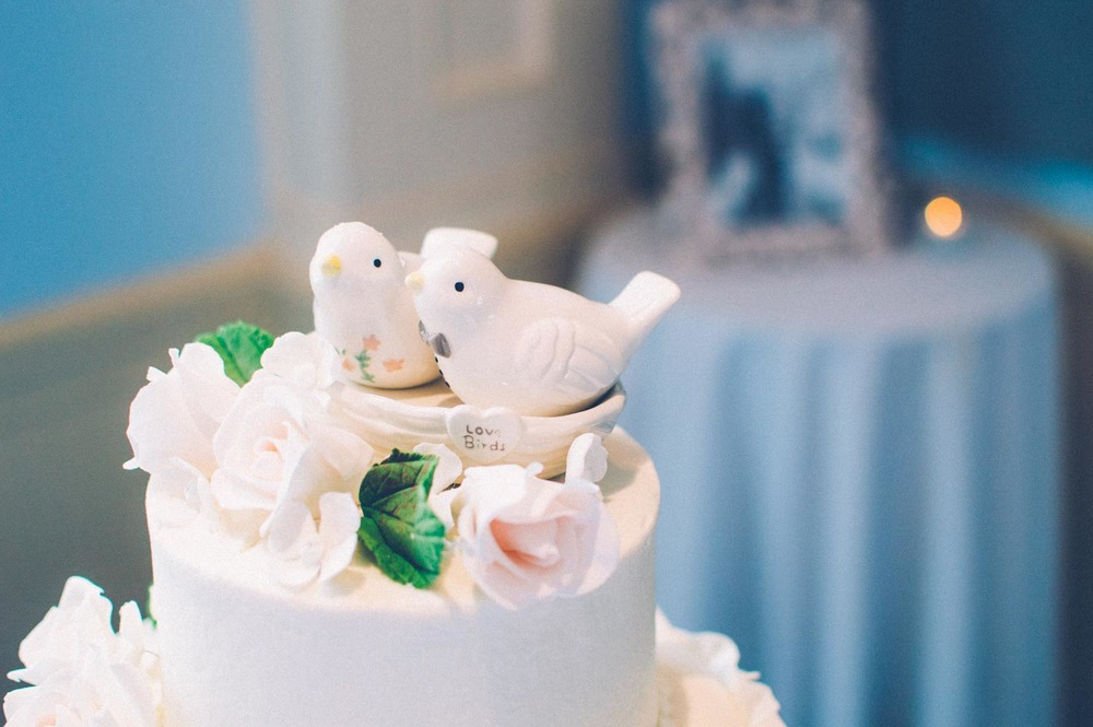 wedding cake topper of two love birds
