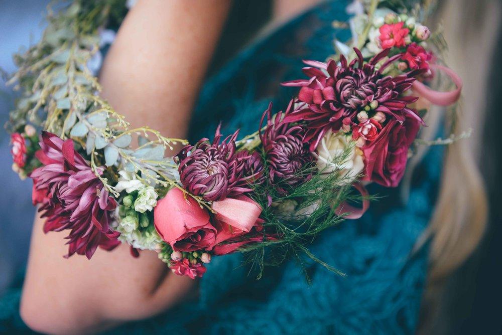floral crown on arm