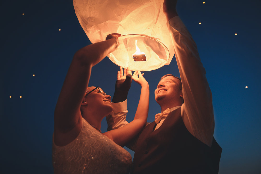 sky lantern at wedding at night