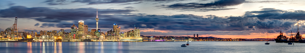 Auckland City At Dusk Panorama. 5 image panorama made up of 3 shot HDR images 84  mm | 2.5, 10, 30 sec | f8 | ISO200
