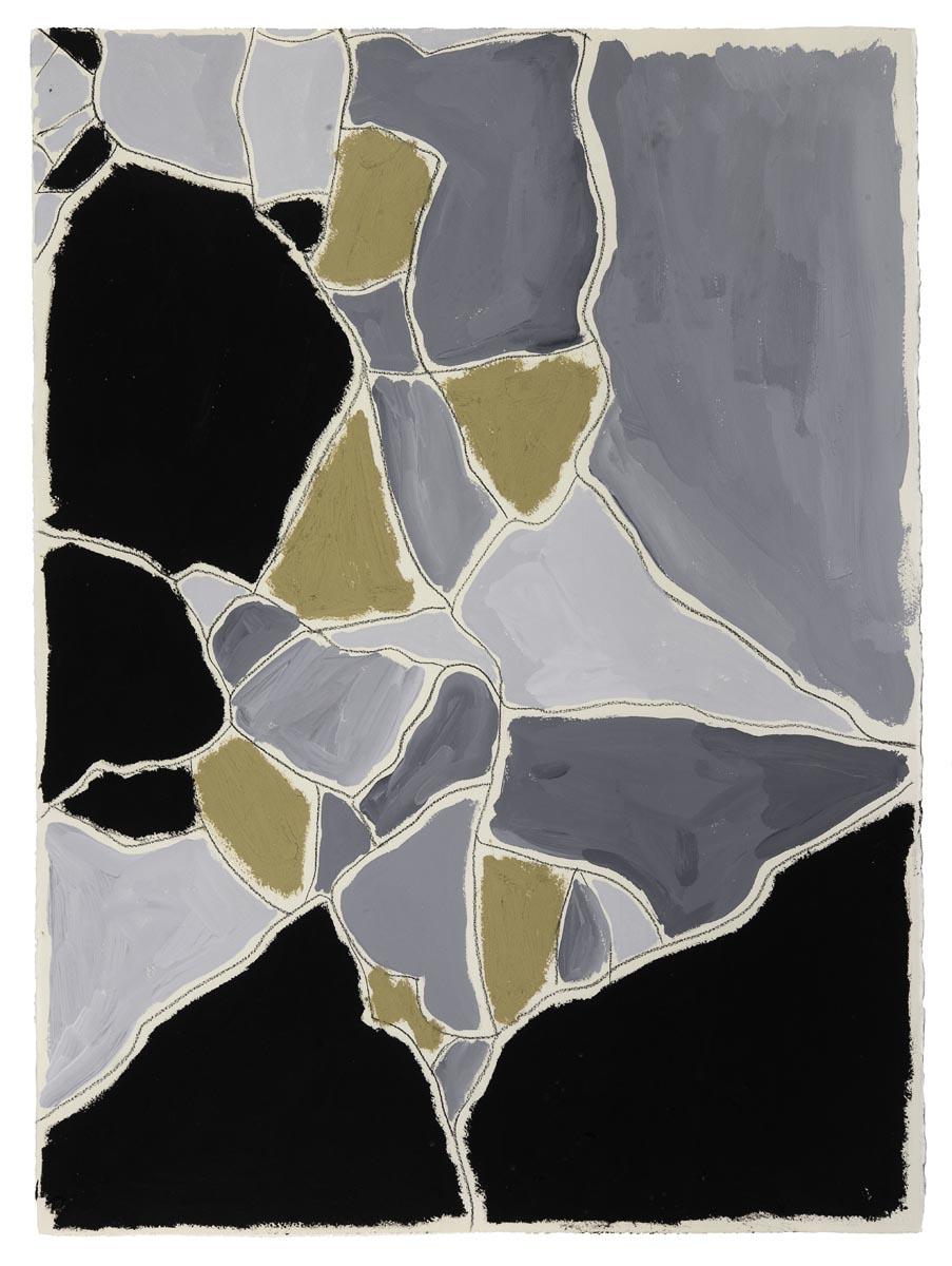 "Black, Gray, Gold  Joseph Street, New Orleans  (Sidewalks Series)  oil, charcoal, gouache on paper  30"" x 22"""