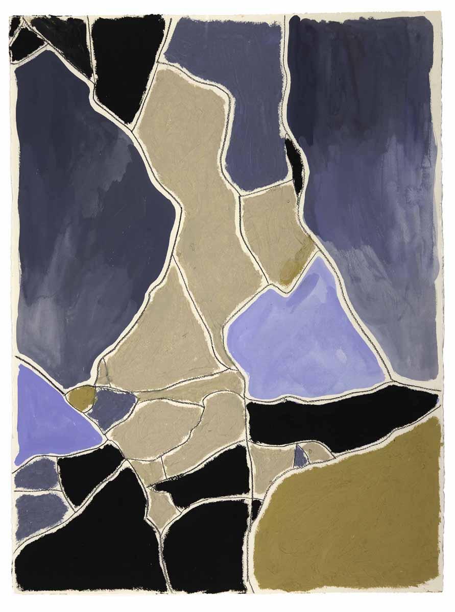 "Blue, Sand, Black  Joseph Street, New Orleans  (Sidewalks Series)  oil, charcoal, gouache on paper  30"" x 22"""