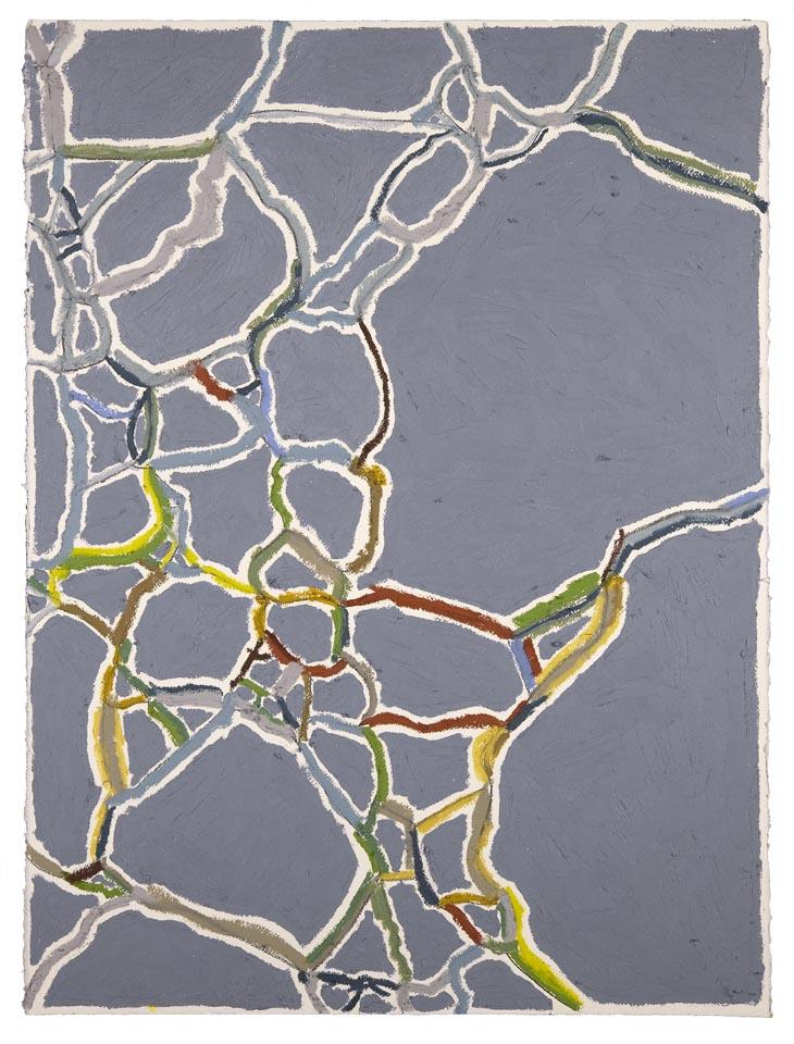 "Blue-Gray, Gold, Green  Duval Street, Austin  (Sidewalks Series)  oil, charcoal, pastel on paper  30"" x 22"""