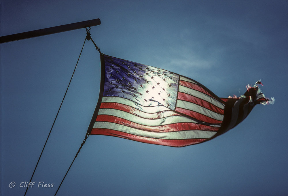 US flag waving in the wind