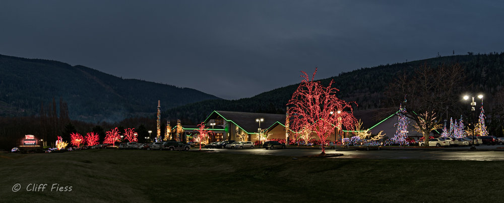 Christmas lights at the 7 Cedars Resort in Sequim WA
