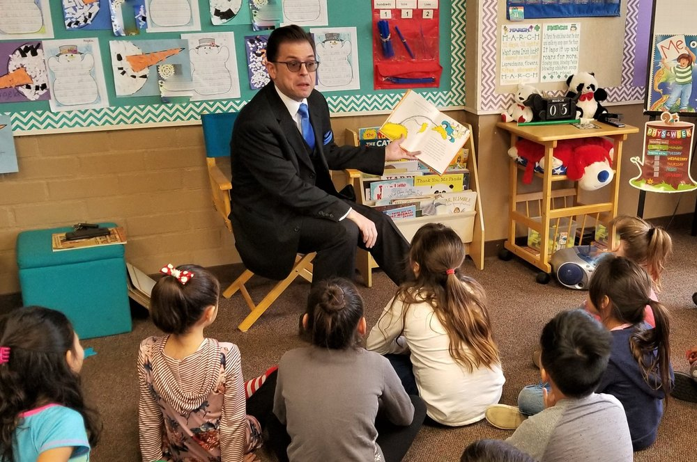 "Stephen Anthony visiting a school for ""Read Across America"" week. - Stephen reads a Dr. Seuss favorite to the kids in the room.March 2019"