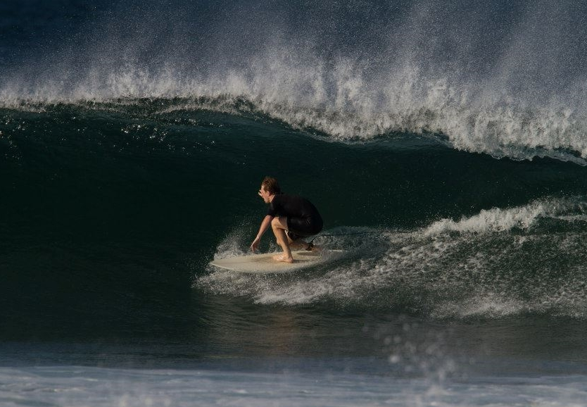Patrick Belmonte spends as much time in the ocean as possible, surfing year round in New England.