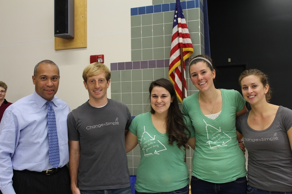 From left to right: Governor Deval Patrick, Patrick, Kelly, Hannah, and Lauren