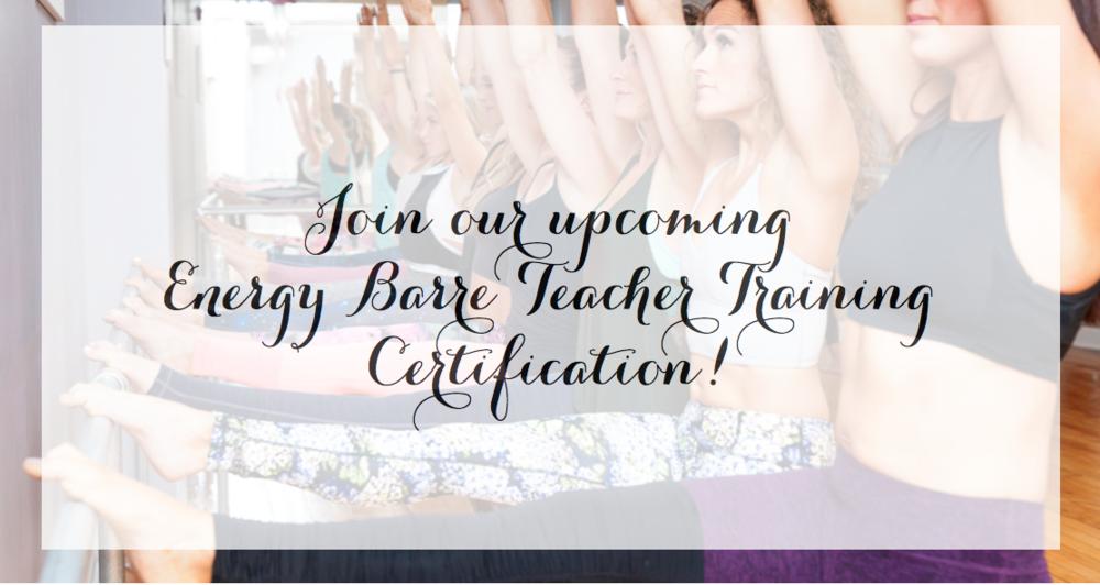 The Energy Barre Teacher Training Certification The Energy Barre