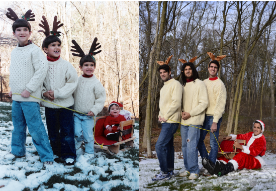 Our Christmas card, 2013. No one in my family will be donning antlers again for some time.