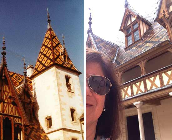 A photo taken in 1983 (left) and last month (right), both by me, both showing off the toits bourguignons, or the polychrome clay roofs famous in the region.