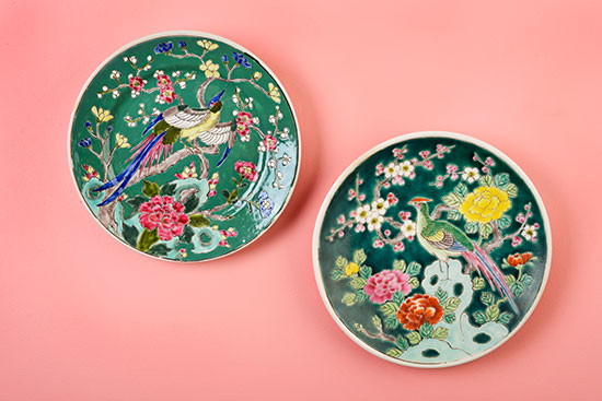 Vibrant polychrome plates from Finder Not Keeper. It seems that as adornment on objects, birds reign supreme. For more information, please click on the photo above. Photo by Renn Kuhnen.