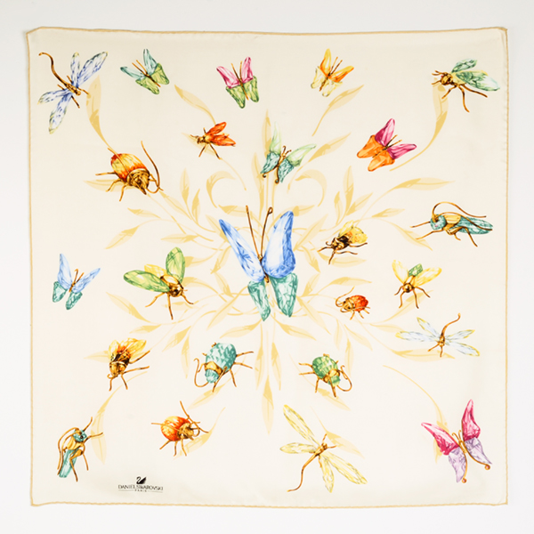 "Silk ""Paradise"" scarf with butterflies and bugs. More information    here   ."