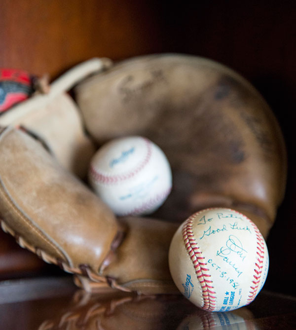 A baseball inscribed to Peter from Don Larson's perfect game in Yankee Stadium against the Brooklyn Dodger's.