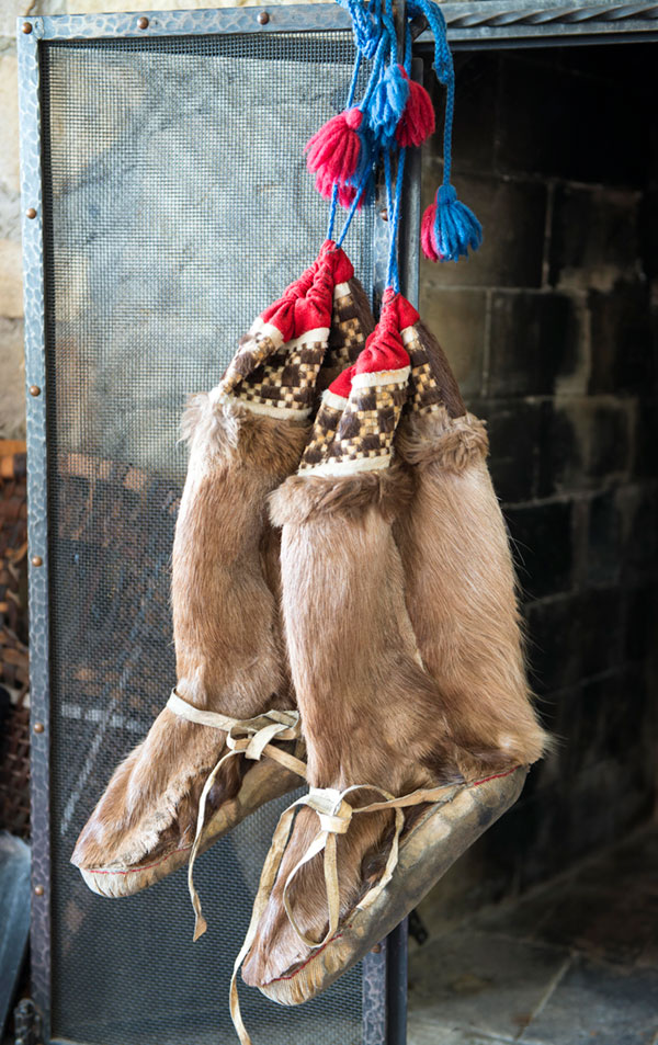 A pair of Inuit moccasins made from elk skins which is so tough, Inuit women had to chew the leather to make it pliable. The top of the boot is made from beaver interwoven with wool.