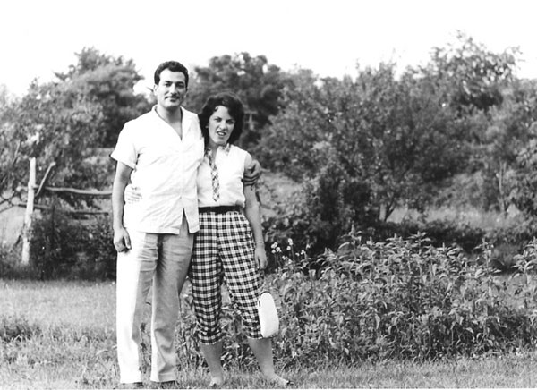 My mother and father on her family's farm in Wadsworth, Illinois, 1960.