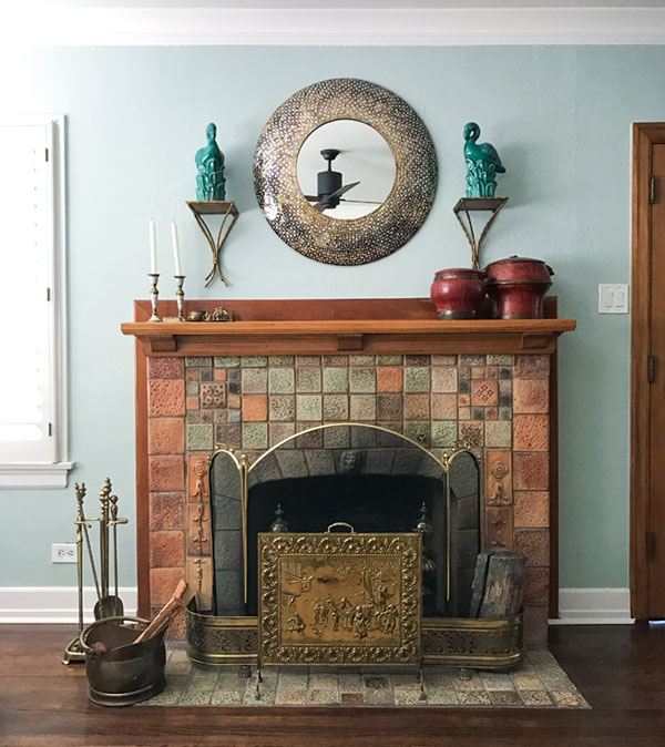 Look closely at the arts and crafts terra cotta tiles on the fireplace surround. Such workmanship! No reason why they won't look just as fabulous in another hundred years.