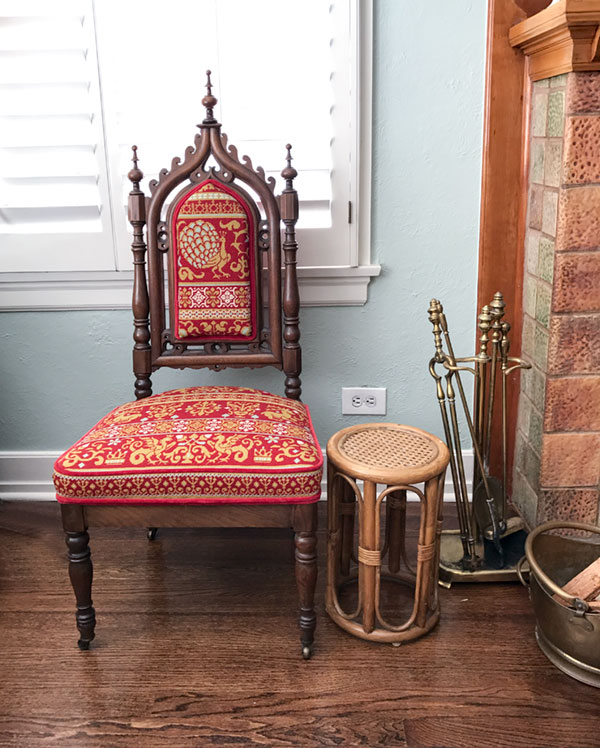 Every home needs an odd chair just to make the other chairs realize that they needn't be so boring. This one belonged to Margaret's grandfather, then was passed down to Margaret's mother who needlepointed its cushions, and now it is Margaret who is in charge of the dragons.