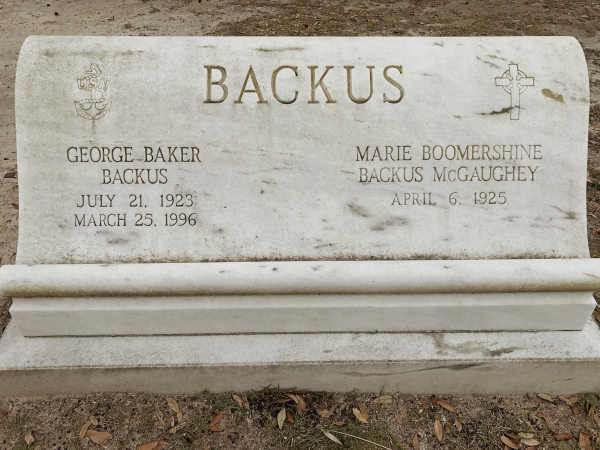 Deep in the Bonaventure Cemetery, also known as the Plantation of Death, there is this tombstone. Can you think of any name ever given better than Marie Boomershine Backus McGaughey? Didn't think so.