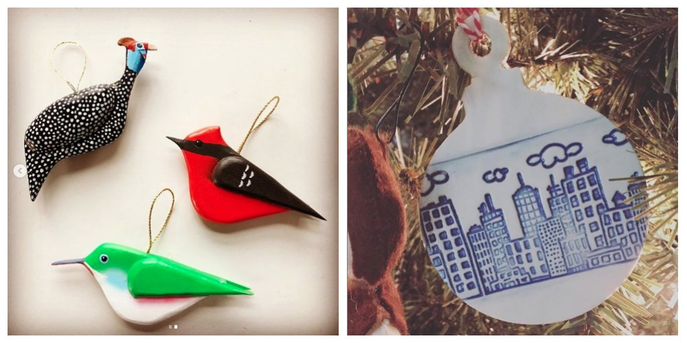 Left image: A friend posted the photo of the bird ornaments she received from her neighbor, who carves and paints them from photos taken of birds he sees on his travels. Right image: A ceramic cityscape, made by my cousin. stamped and glazed by my cousin.