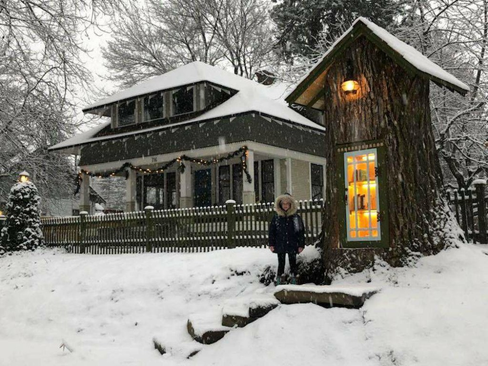 A   free library   that makes use of a dead tree.