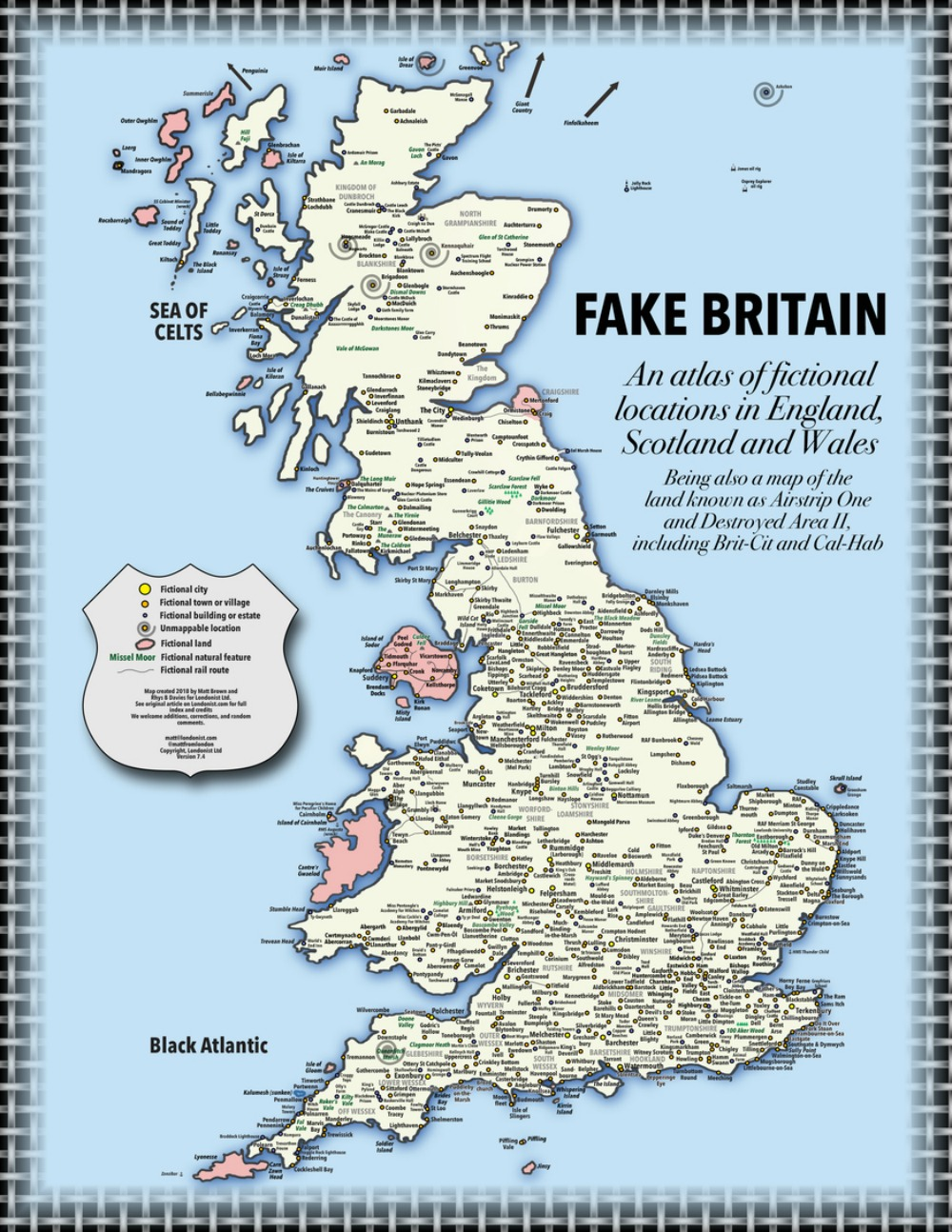 A   map of Fake England  . So interesting to see that Longbourne lies very close to Gosford Park. Also, I'd like to visit Bernt Arse.