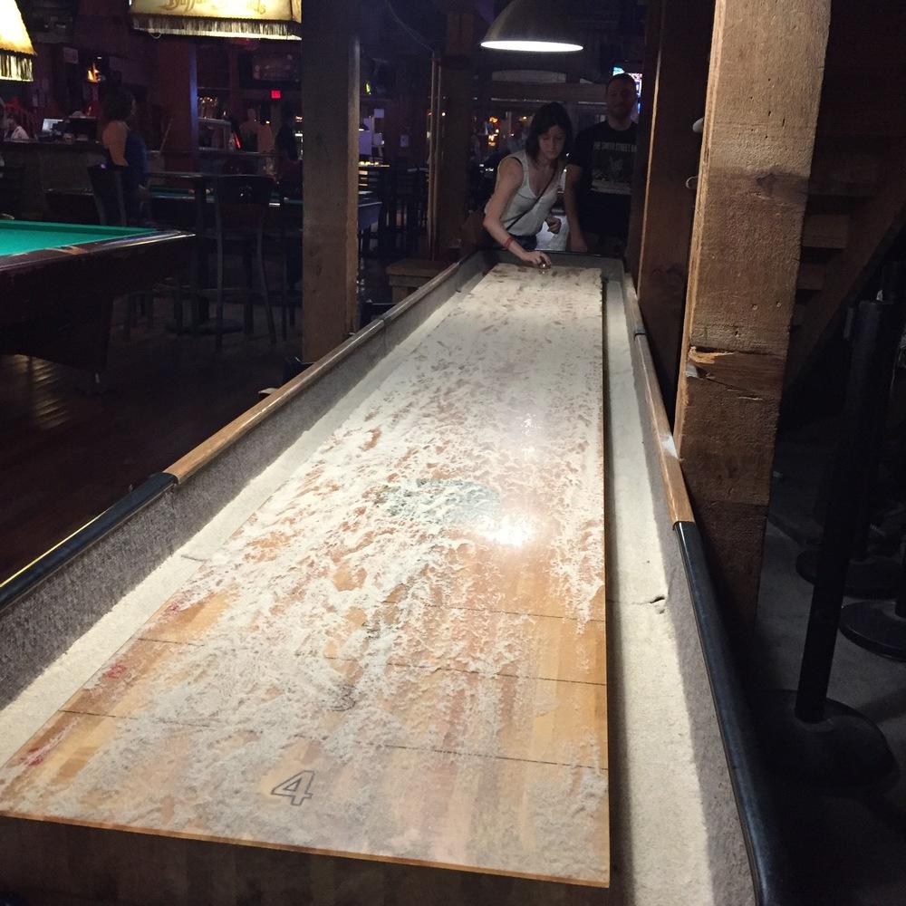attempting shuffle board