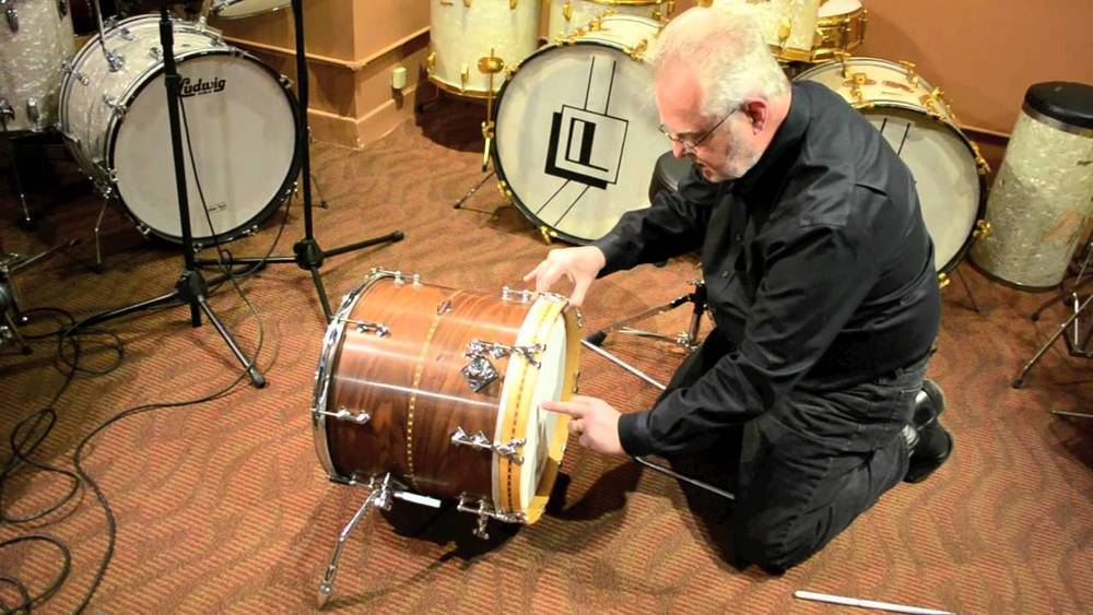Some poor soul converting a floor tom to a kick