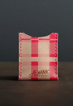 Almanac Industries Pink Plaid Leather Card Case Is there a cuter/cooler way to carry your cards? If so, we haven't found it yet. This leather wallet is printed with a neon pink plaid pattern and is handcrafted in Baltimore.