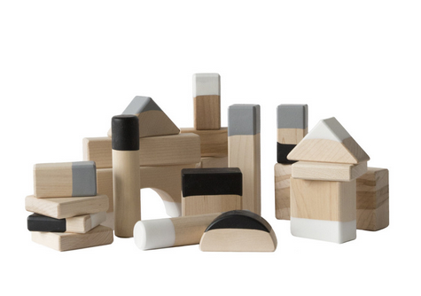 Wilson & Willy's Neutral Stacking Blocks by Wind & Willow Home + Beka Block Natural wooden blocks take on a new role: toy or art? You decide.