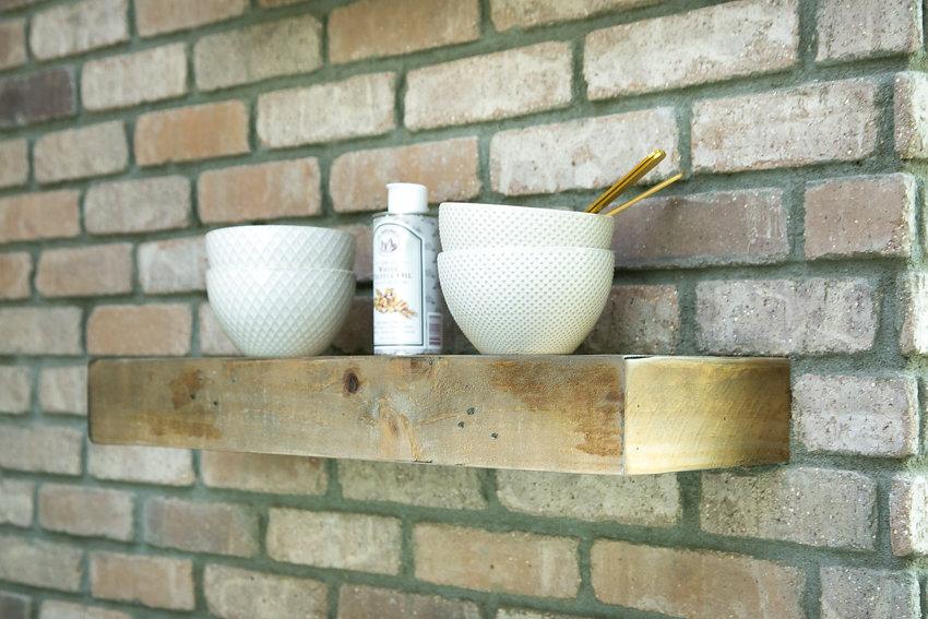New reclaimed lumber floating shelves at 1176-66th Street, Oakland CA 94608