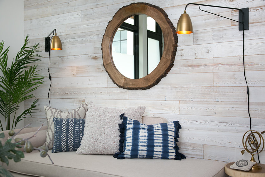 Whitewashed reclaimed lumber accent wall at 1176-66th Street, Oakland CA 94608