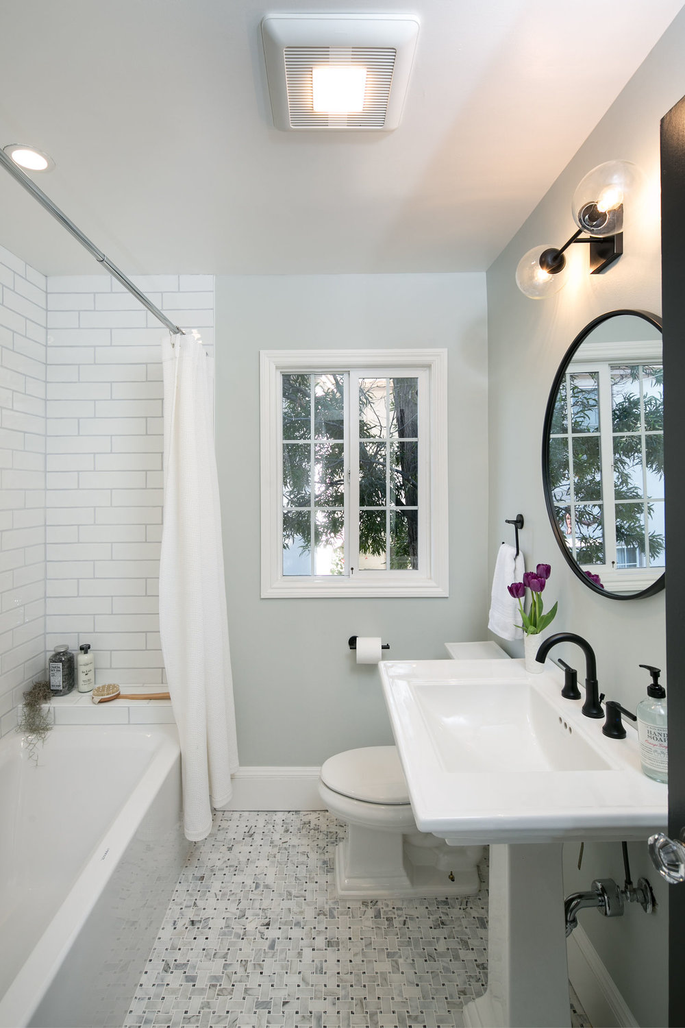 Crocker Highlands Modern Mediterranean Bathroom Renovation, Interior Design and Staging- after
