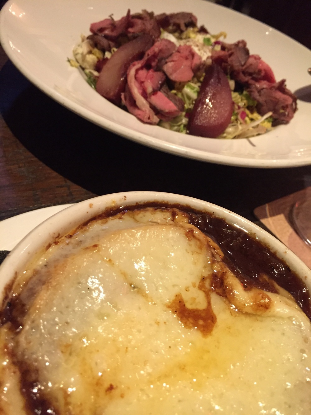 French onion soup and poached pear salad with prime rib. @ Side Door Chicago