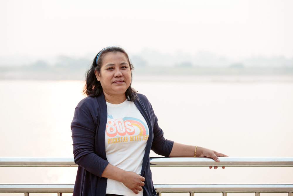 Wandee in her home province, on the banks of the Mekong river.