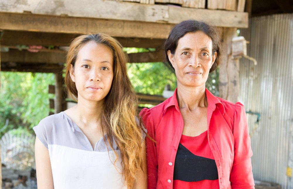 Koeuniyi with her daughter. She finished grade 8 (as did her two brothers). Now she's 24, married and works as a beautician.