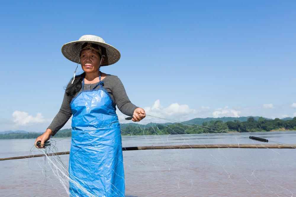 Saman prepares her 350-metre long net.