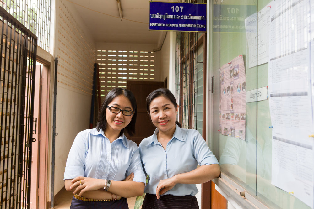 Dr. Somkhith Boulidam, nearest the wall,  is head Geography at Lao's national university.