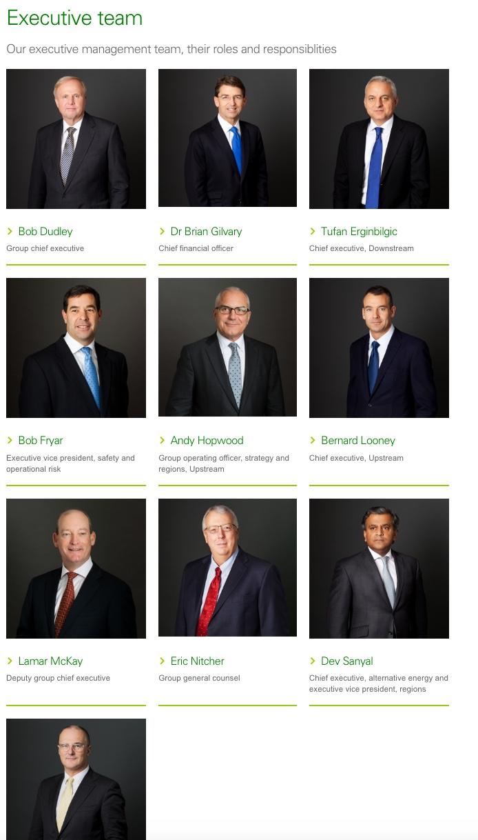 BP's Executive Team