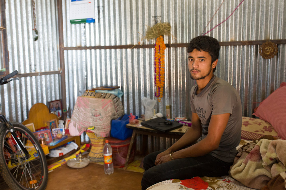 Narayan's 22-year old son Rajahn. He has a high-school education and can't find a job in Nepal.  It's a common plight for Nepali youth.