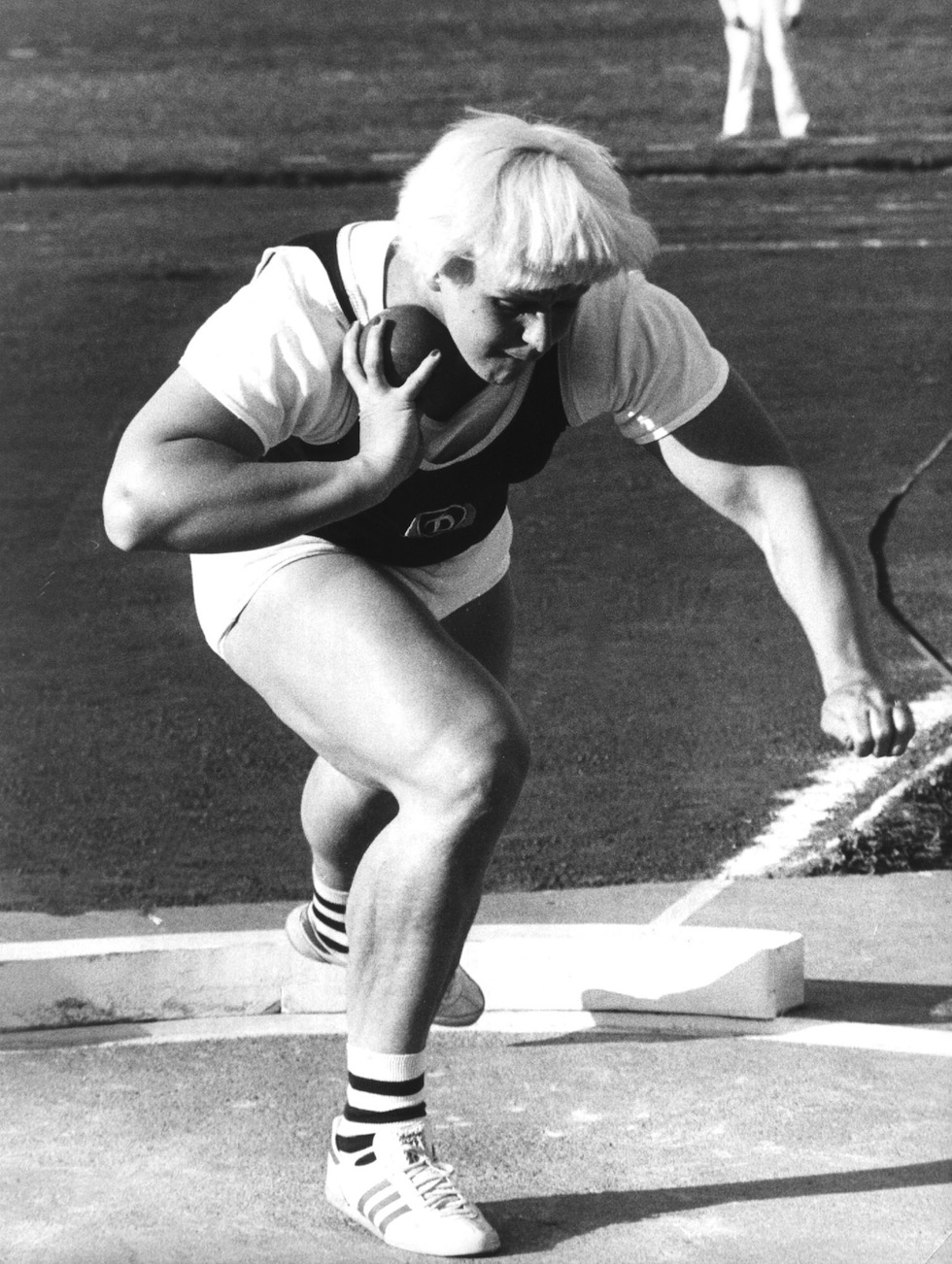 Slupianek was disqualified after she tested positive for anabolic steroids at the 1977 European Cup meeting in Helsinki, where she dominated her event with a superlative 21.20.