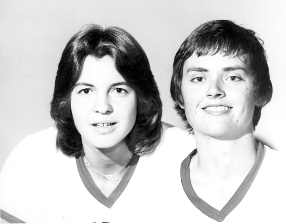 Freshman guard Ginger Rouse and sophomore center Genia Beasley, N.C. State University women's basketball players, 1977-1978 season