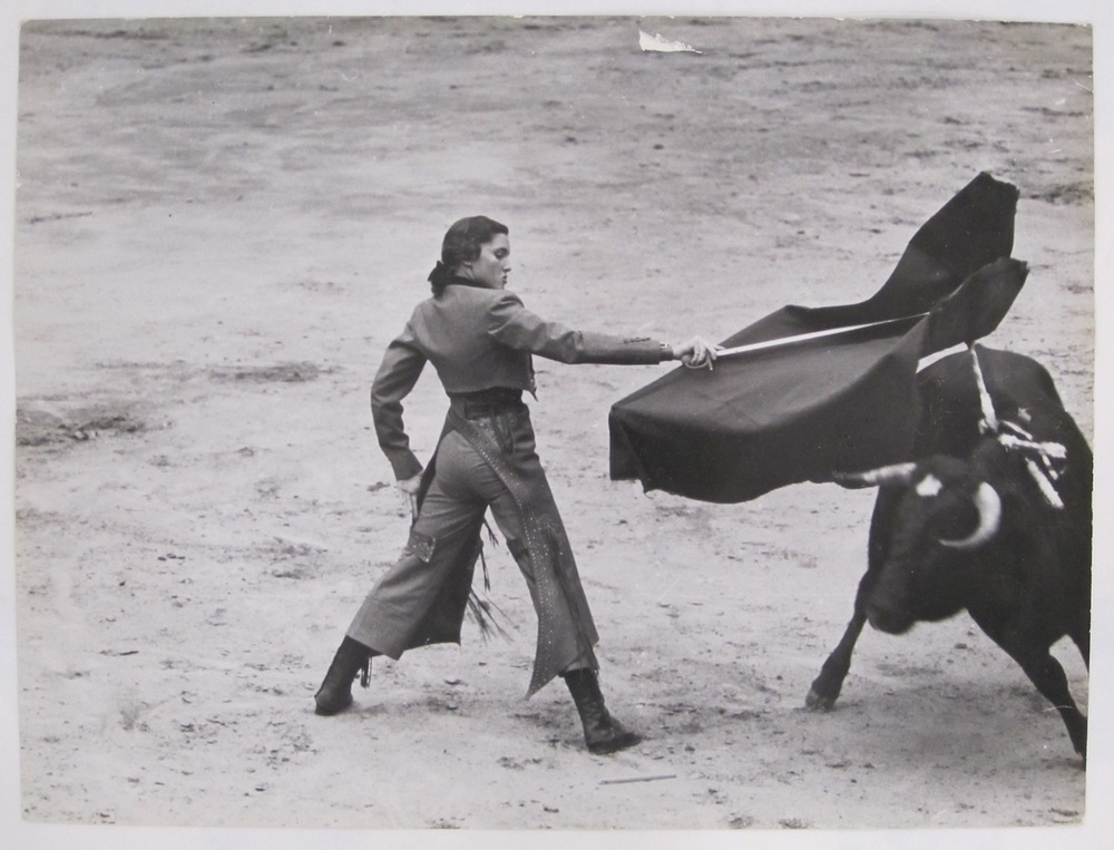 "Known as ""The Golden Goddess"", Cintrón became the first female bullfighter (torera) to compete when she did so in 1936, at age fourteen.  Widely seen as the most famous female bullfighter in the history of the sport, Cintron gored over 750 bulls during her extensive career.  At a 1940 event in Mexico, Cintrón was injured by a bull and brought to the infirmary.  She refused to be taken off-site and later returned to the ring to kill the bull before collapsing. Her popularity in the sport was so great, that when she was arrested in Spain for entering the ring and  bullfighting on foot (only fighting from horseback was allowed at the time), the audience sprang to her defense.  As riots threatened to break out in the streets, the regional governor was forced to pardon Cintrón. Orson Welles, who wrote the introduction to her autobiography later said: ""Her record stands as a rebuke to every man of us who has ever maintained that a woman must lose something of her femininity if she seeks to compete with men."""