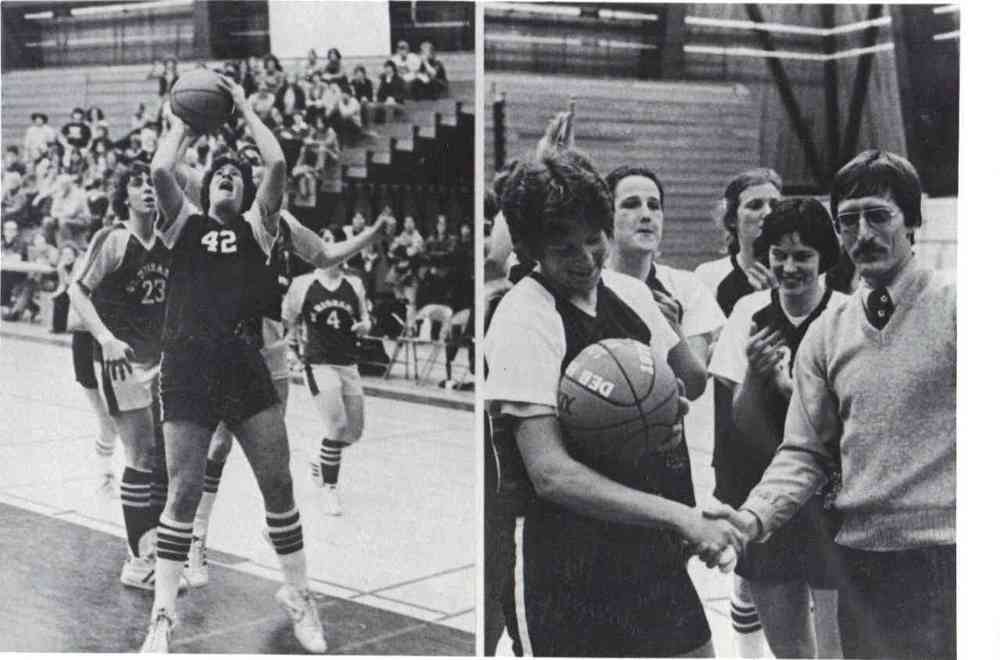 Plymouth State women's basketball player Deb Hughes.  - 1974