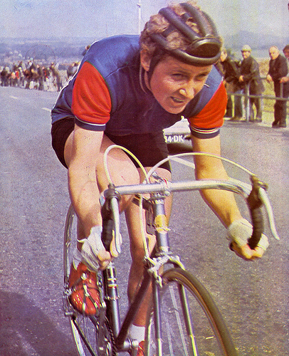 Beryl Burton dominated women's cycle racing in the UK, winning more than 90 domestic championships and seven world titles, and setting numerous national records. She set a women's record for the 12-hour time-trial which exceeded the mens records for two years.  She was world champion five times (1959, 1960, 1962, 1963 and 1966), silver-medallist three times (1961, 1964 and 1968), and winner of bronze in 1967, 1970, 1971 and 1973. In 1967, she set a new 12-hour time trial record of 277.25 miles – a mark that surpassed the men's record of the time by 0.73 miles and was not superseded by a man until 1969.   Burton, who had always had a somewhat odd heart arrhythmia, died of heart failure during a social ride, when she was out delivering birthday invitations for her 59th birthday party.