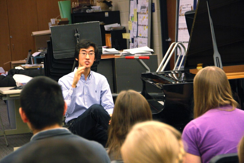 Speaking to students in Brookfield High School, Brookfield, WI