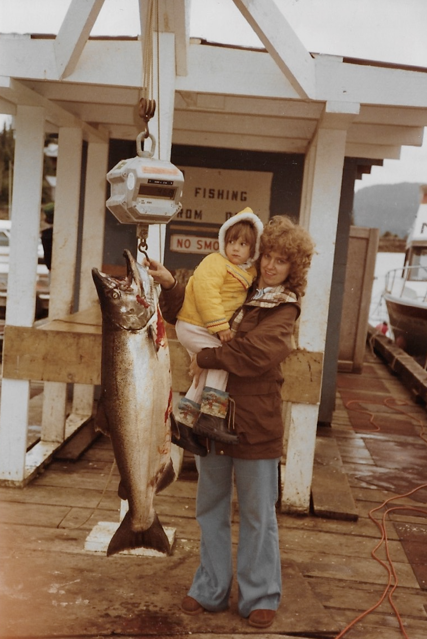 Even as a toddler, Misty was interested in fish!  Here she is with her mom Louise, who'd landed a nice King salmon.