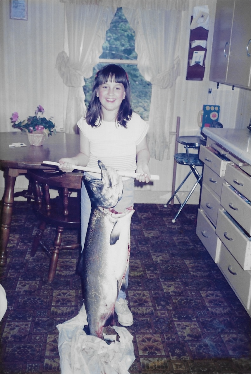 Misty in 1989, with a 29-lb. King salmon.