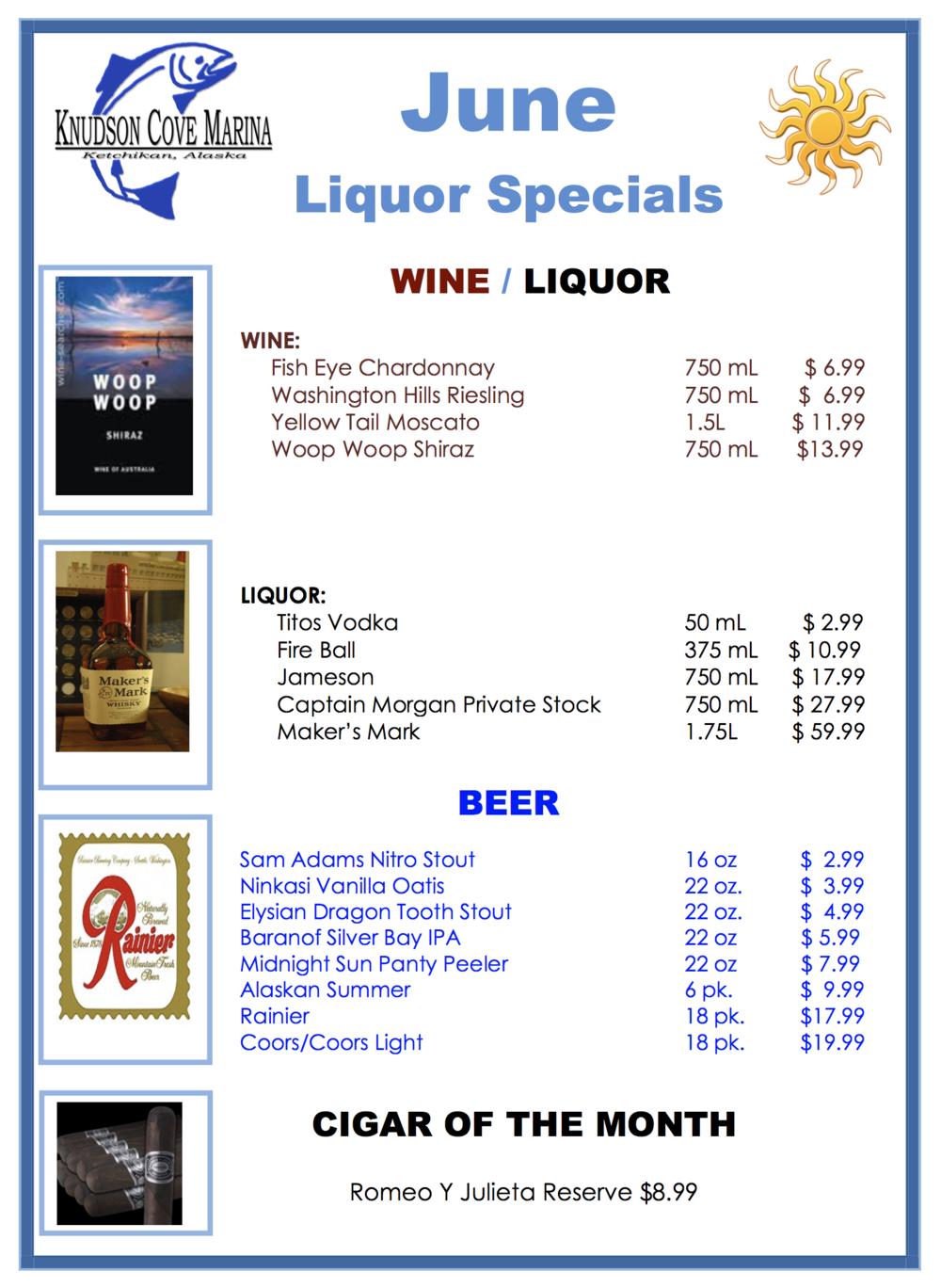 June Liquor Specials