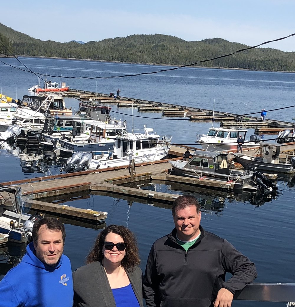 Michael & Linnaea Troina with Matt Burbank, who is taking over operation of Knudson Cove Marina